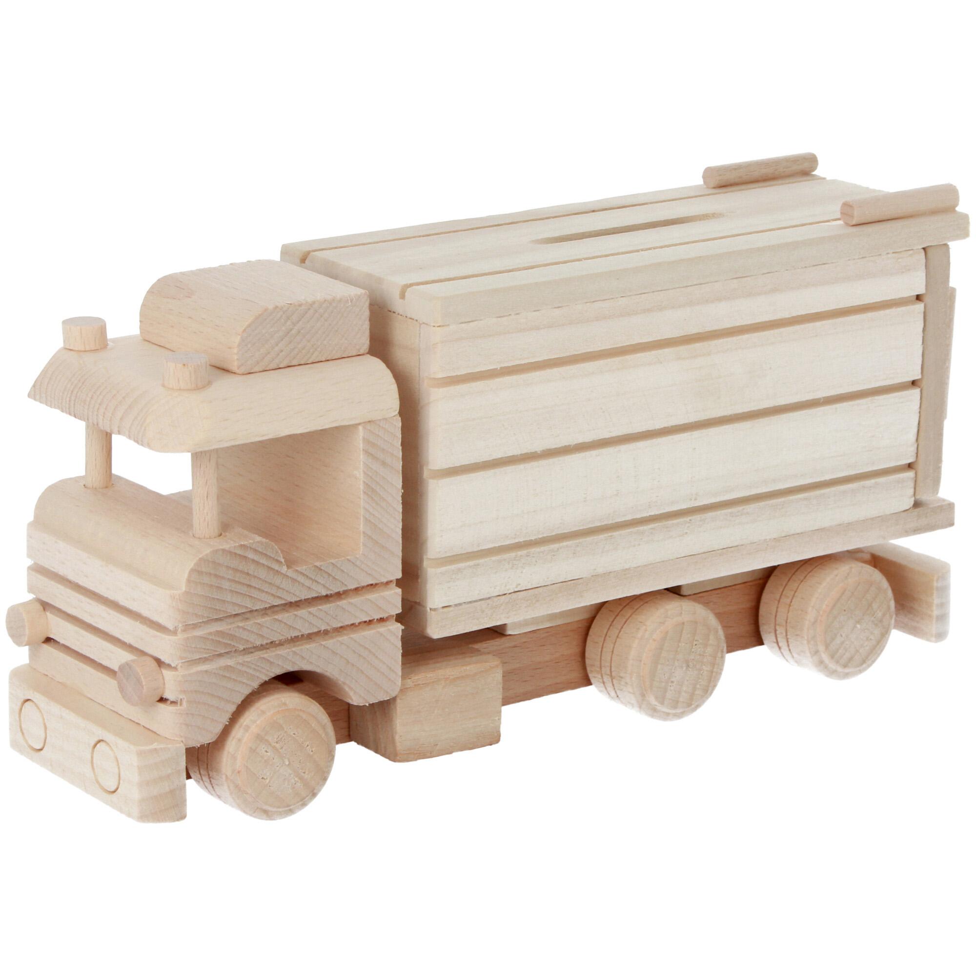 samochód skarbonka drewniana